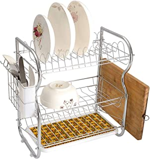 Stainless Steel 3-Tier Dish Drainer Rack Zambia Kitchen Drying Drip Tray Cutlery Holder Kenya Ethnic Motif with Geometrical Aztec Native American Effects Print,Yellow Brown Green,Storage Space Saver