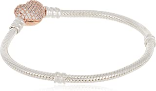 PANDORA Jewelry - Moments Pavé Heart Clasp Snake Chain Bracelet for Women in Two Tone PANDORA Rose and Sterling Silver with Clear Cubic Zirconia