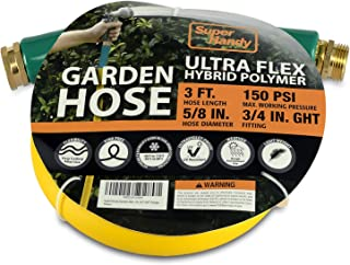 "SuperHandy Garden Lead-in Water Hose 5/8"" Inch x 3' Foot Heavy Duty Premium Commercial Ultra Flex Hybrid Polymer Inlet Hos..."