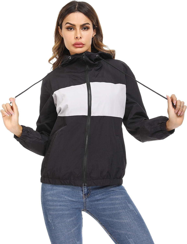 Irevial Rain Jacket Women Waterproof with Hood Lightweight Breathable Raincoats Active Outdoor Raincoat Windbreaker Color Block