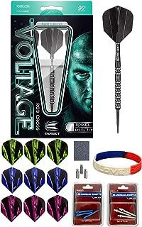 TARGET Rob Cross Voltage Black Pixel Steel Tip Darts - 25g 100558 90% Tungsten Barrels Plus Steel Tip Accessory Kit & I Love Darts Bracelet