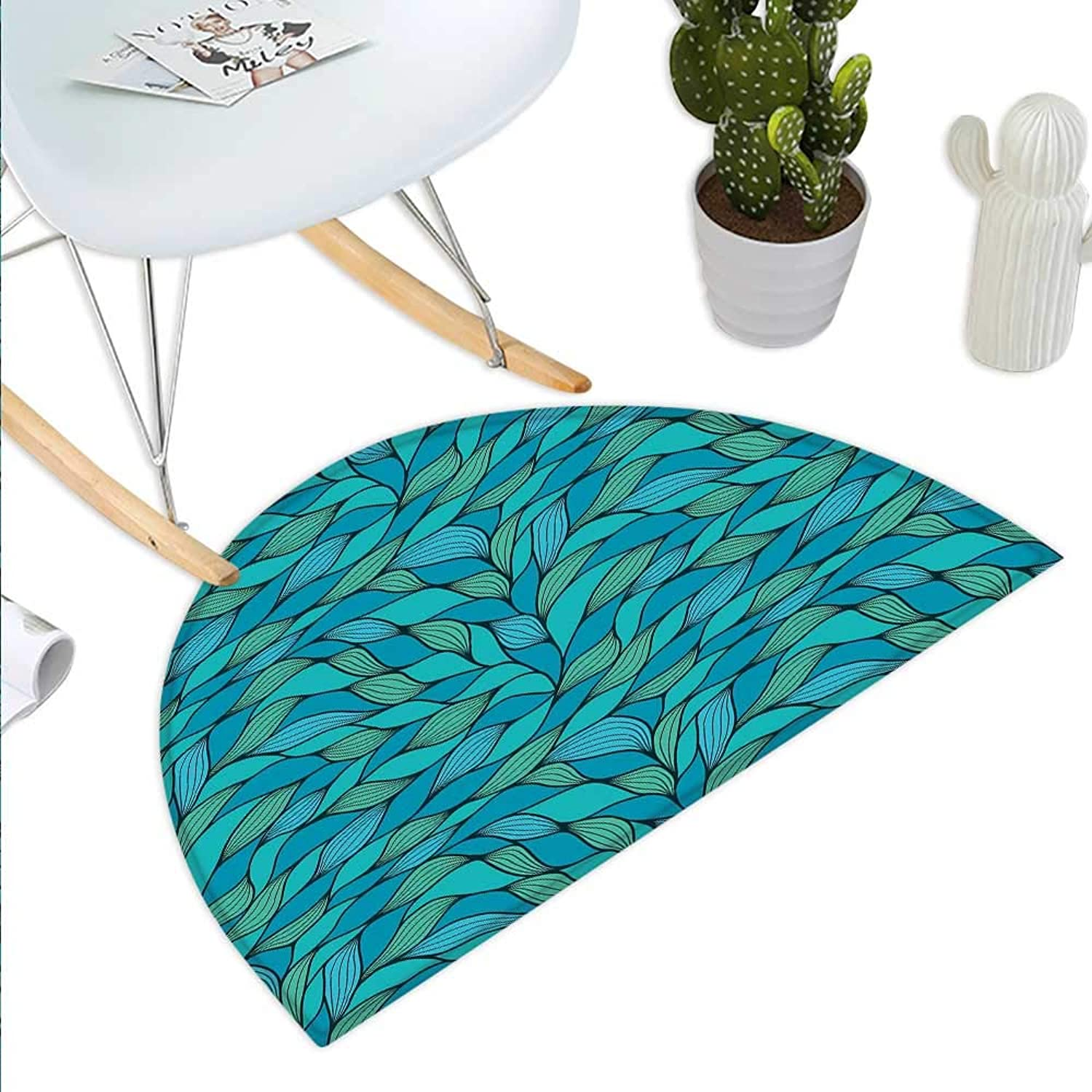 Teal Semicircle Doormat Abstract Wave Design Ocean Themed Marine Life Pattern Print Halfmoon doormats H 43.3  xD 64.9  bluee Mint Green