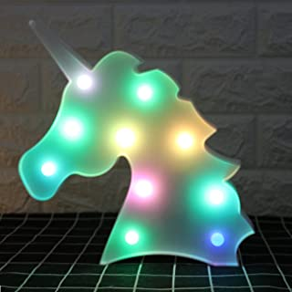 Yaeer Colorful Unicorn Light Marquee Decorative Signs Battery Operated Night Lamp for Wall Home Bedroom Party Decorations ...