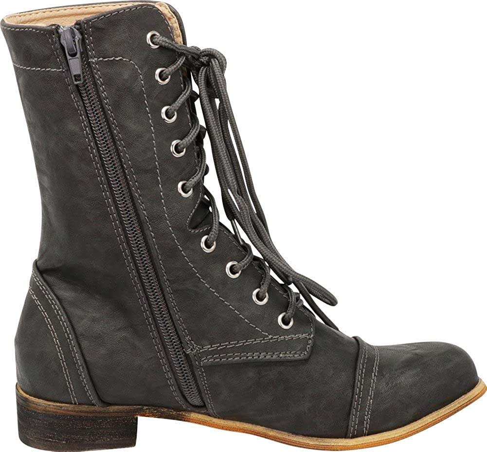 Cambridge Select Women's Closed Round Toe Lace-Up Chunky Low Heel Mid-Calf Combat Boot