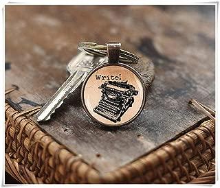 Goodnight cat Vintage Typewriter Keychain, Old Typewriter Jewelry, Writer Keychain,Dome Glass Ornaments