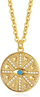 Meeran 18k Gold Evil Eye Necklace,Medallion Coin Pendant Charm Jewelry for Women Girls,16+2 inches
