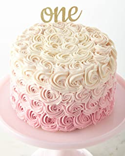 One Cake Topper in Gold 1st Birthday Cake Topper - Handmade Double Sided