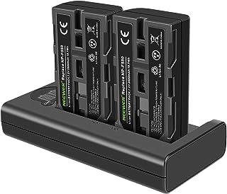 Neewer NP-F550充電器セット Sony NP-F970 F750 F960 F530 F570 CCD-SC55 TR516 TR716などに対応(2パック2600 mAh交換用カメラバッテリー、Micro USBおよびType-C...