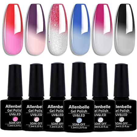 Allenbelle Smalto Semipermante Per Unghie Kit In Gel Uv Led Smalti Semipermanenti Per Unghie Nail Polish UV LED Gel Unghie(Kit di 6 pcs 7.3ML/pc) (004)