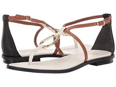 LAUREN Ralph Lauren Nanine (Vanilla/Deep Saddle Tan/Black Super Soft Leather Color Blocked) Women