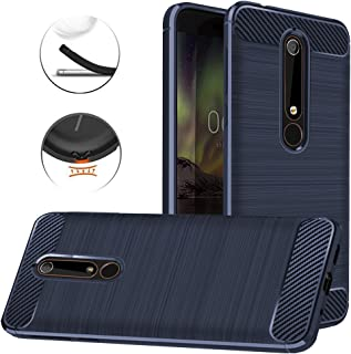 Nokia 6.1 Case, Nokia 6 2018 Case, Dretal Carbon Fiber Shock Resistant Brushed Texture Soft TPU Phone case Anti-Fingerprint Flexible Full-Body Protective Cover for Nokia 6.1 2018(Navy)