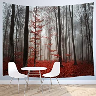 Forest Decor Tapestry By JAWO Horror Gothic Red Forest Wall Art Hanging for Bedroom Living Room Dorm 71X60Inches Wall Blankets