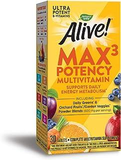 Nature's Way Alive! Max3 Potency Multivitamin, High Potency B-Vitamins, 30 Tablets