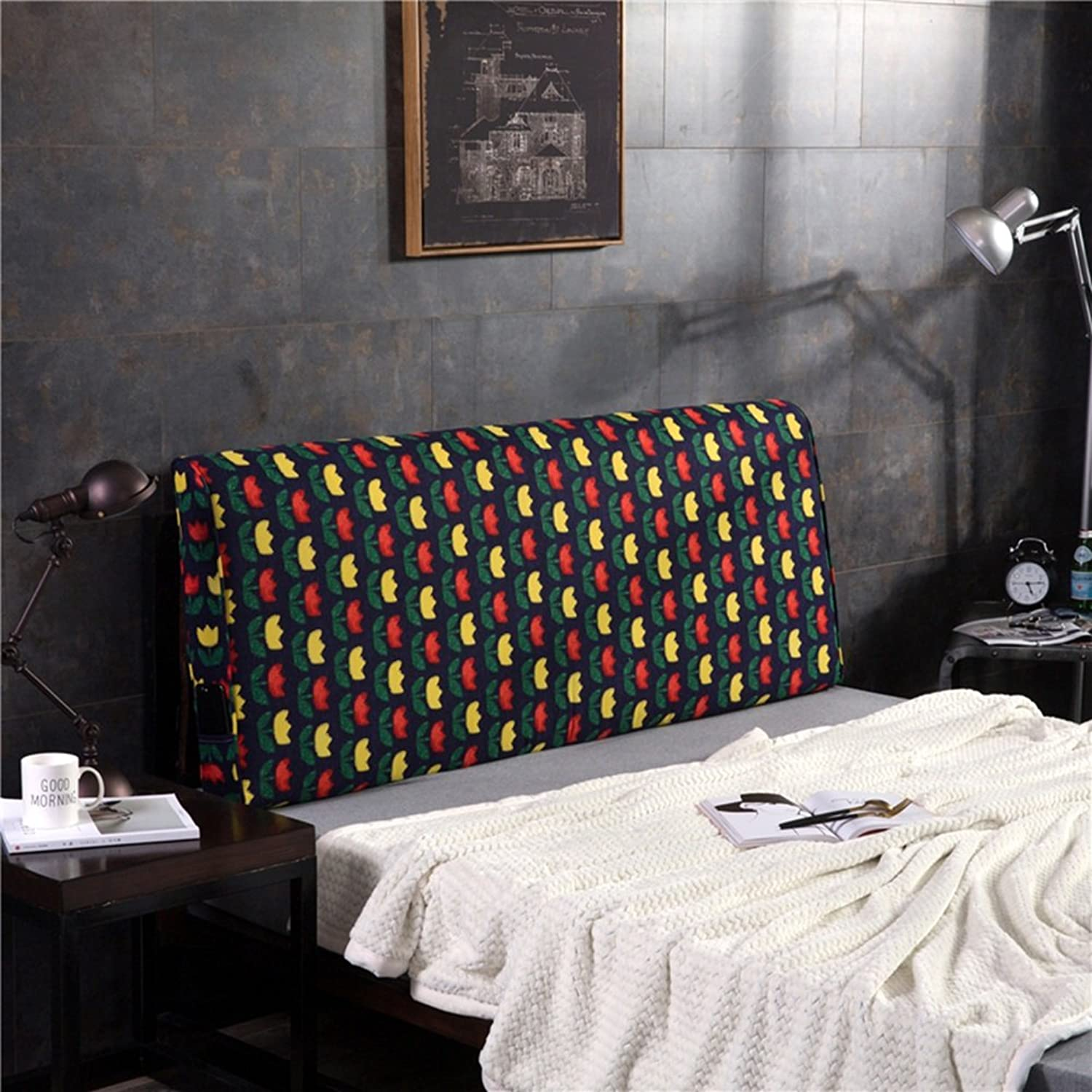 WENZHE Upholstered Fabric Headboard Bedside Cushion Pads Cover Bed Wedges Backrest Waist Pad Double Bed Large Back Multifunction Sofa Pillow Home Washable Thickened, With Headboard   No Headboard, 5 colors, 4 Sizes ( color   1  , Size   No headboard-150cm