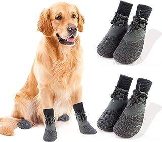 Fship 4PCS Dog Socks Anti-Slip Knit Dog Paw Protector Waterproof Dog Booties for Indoor Outdoor Wear (XXL)