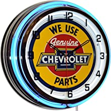 We Use Genuine Chevrolet Parts Double Neon Clock, Retro/Vintage, Garage Man Cave Decor