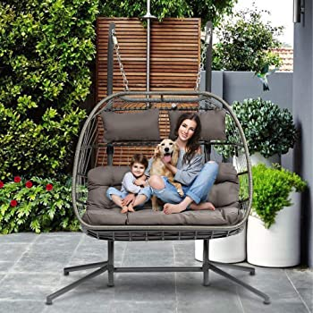 Amazon Com Hlj Double Person Patio Hanging Chair Outdoor Wicker Swing Hammock Swing Egg Chair With Seat Uv Resistant Soft Cushions Stand For Backyard Balcony With Hanging Pumpkin Loveseat Chair Garden Outdoor