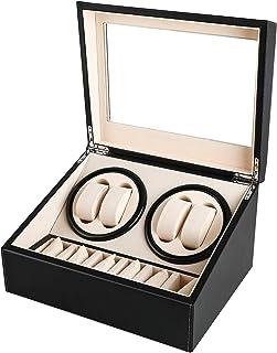 Gifort Watch Winder Cajas giratorias para Relojes automático, Caja de enrollador de Reloj de Cuero de PU para 4 Relojes + 6 almacenes Caja de joyería Caja de Reloj con Motor silencioso