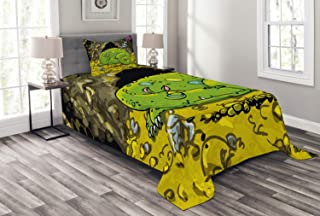 Ambesonne Dragon Bedspread, Creature Sleeping on a Pile of Gold and Scared Knight Peering Over Kids Cartoon, Decorative Quilted 2 Piece Coverlet Set with Pillow Sham, Twin Size, Green Yellow