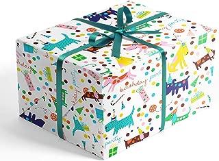 Happy Birthday Dog Party Premium Folded Wrapping Paper, 2 feet x 10 feet Birthday Folded Gift wrap, Hoot Leroux™