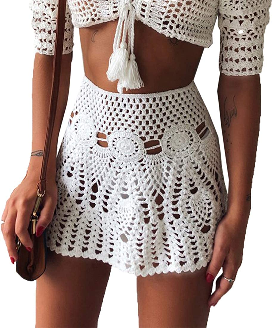 LinvMe Women's Cotton Knitted Lace High Waist Mini Beach Skirts