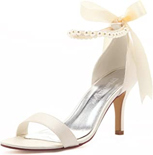 Women Ankle Strap Shoes Open Toe Pearls Satin Bridal Wedding Sandals