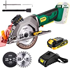 "POPOMAN Cordless Circular Saw, 4-1/2"" Saw with Laser Guide, 20V 2.0Ah Battery, 1H Charger, 9.5"" Base Plate, Max Cutting De..."