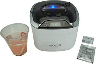 iSonic DS400B (PET) Miniaturized Commercial Ultrasonic Cleaner with Disposable Cup to Clean Dentures at Dental Offices, 110V, 55W, White