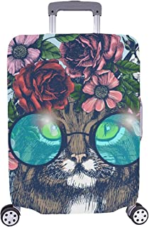 Maine Coon Cat Portrait Floral Wreath Spandex Trolley Case Travel Luggage Protector Suitcase Cover 28.5 X 20.5 Inch