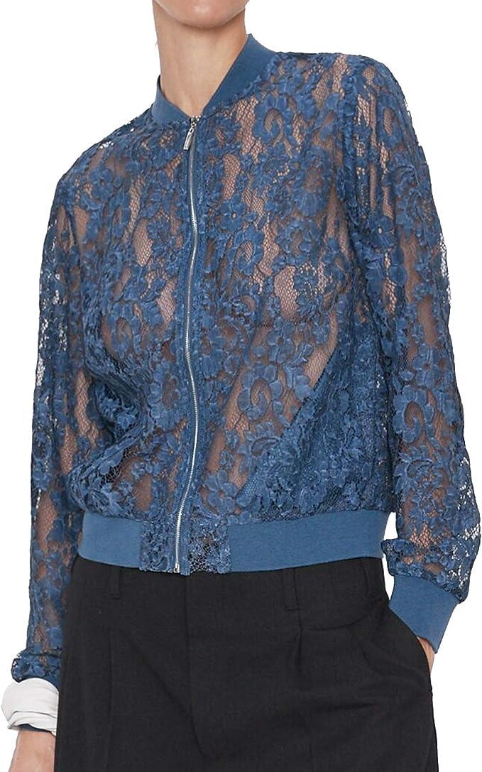 Zara 8741/232 - Chaqueta Bomber de Encaje para Mujer Azul M ...