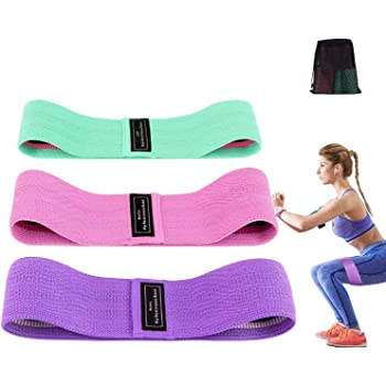 set of 3 fabric exercise loop bands for hip qc fitness Hip resistance bands