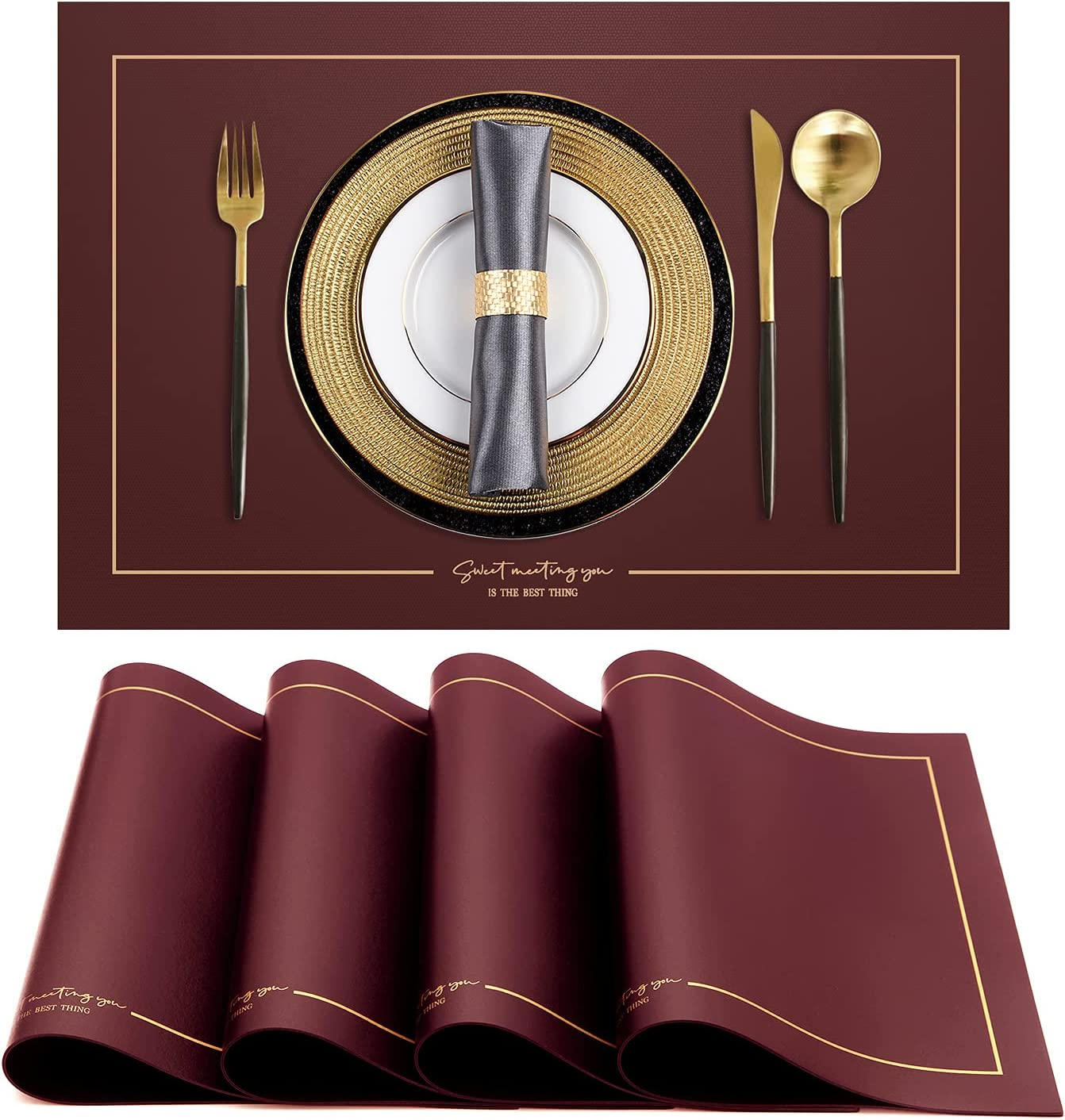 Hokeding Large discharge Denver Mall sale PU Leather Heat Resistant Table Placemats Se for Dining