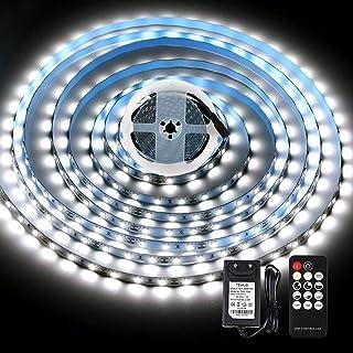 Bande LED KWODE 5 m blanc froid avec télécommande, 6000 K, intensité variable, ruban LED autocollant avec bloc d'alimentat...