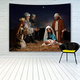 MINAKO The Nativity of Jesus Tapestry Wall Hanging, People Celebrating The Birth of Jesus Christ, Christmas Decor Tapestry, Xmas Happy New Year Tapestries, Tapestry for Christmas Day Decoration
