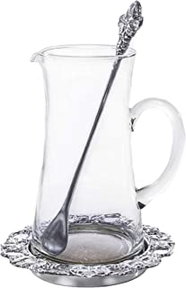 Arthur Court Designs 3-Piece Beverage Glass Pitcher Grape with Coaster and Stirrer | Perfect for Lemonade - Ice Tea 8.5