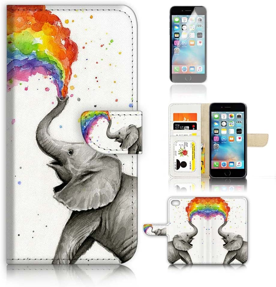 (for iPhone 6 / 6S) Wallet Case Cover & Screen Protector Bundle! A3957 Elephant Rainbow