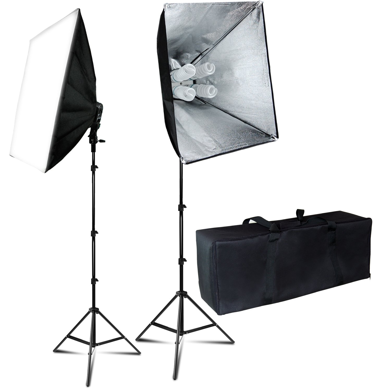 Julius Studio 24X16 Soft Box Photography Continuous 800W Lighting Kit Photo Studio Equipment with 4 Socket Light Bulb Adaptor 8pcs E27 Video Lighting Bulb Portraits Shooting Box JSAG314V2