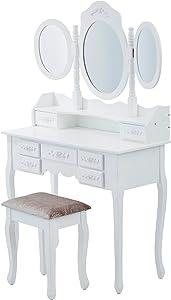 LEVIVO Con Tre Specchi Toeletta, Legno, Bianco, 90x40x145 cm