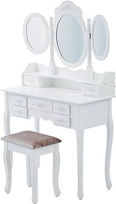 Levivo Coiffeuse avec 3miroirs, Bois, Blanc, 90x40x145 cm