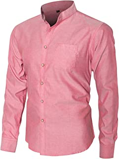 Men's Slim Fit Casual Oxford Dress Shirt Banded Collar Long Sleeve Button Down Shirts with Pocket