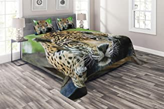Ambesonne Jungle Coverlet, South American Jaguar Wild Animal Carnivore Endangered Feline Safari Image, 3 Piece Decorative ...