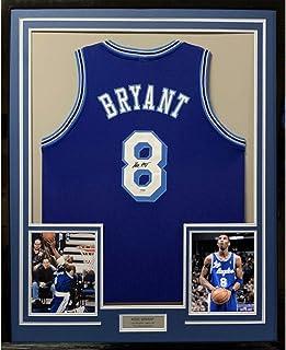 Framed Autographed/Signed Kobe Bryant 33x42 Los Angeles LA Retro Blue Basketball Jersey PSA/DNA COA