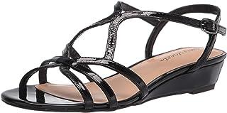Easy Street Women's Wedge Heel Sandal, Black Patent, 8.5 Wide