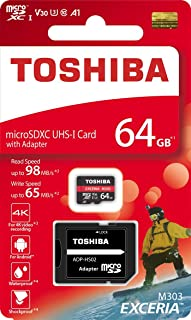 Toshiba 64GB 64G EXCERIA M303 with SD Adapter microSDXC UHS-I U3 Card 4K Class10 V30 A1 microSD micro SD Card Memory Card ...