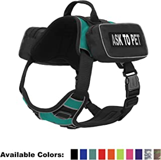 Dogline Quest No-Pull Dog Harness with Saddle Bag and Ask to Pet Reflective Removable Patches Comfortable Dog Vest with Quick Release Dual Buckles Black Hardware and Handle