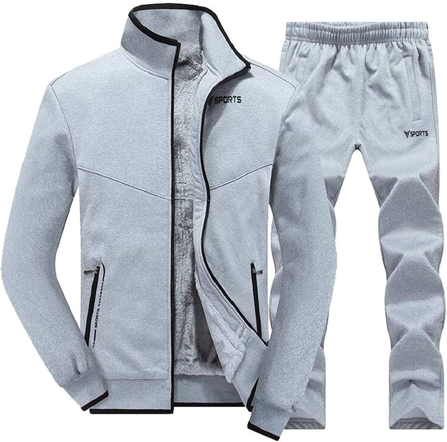 SELX Men Slim Zip Front Casual Active Fleece Thicken 2 Pcs Outfits Tracksuits
