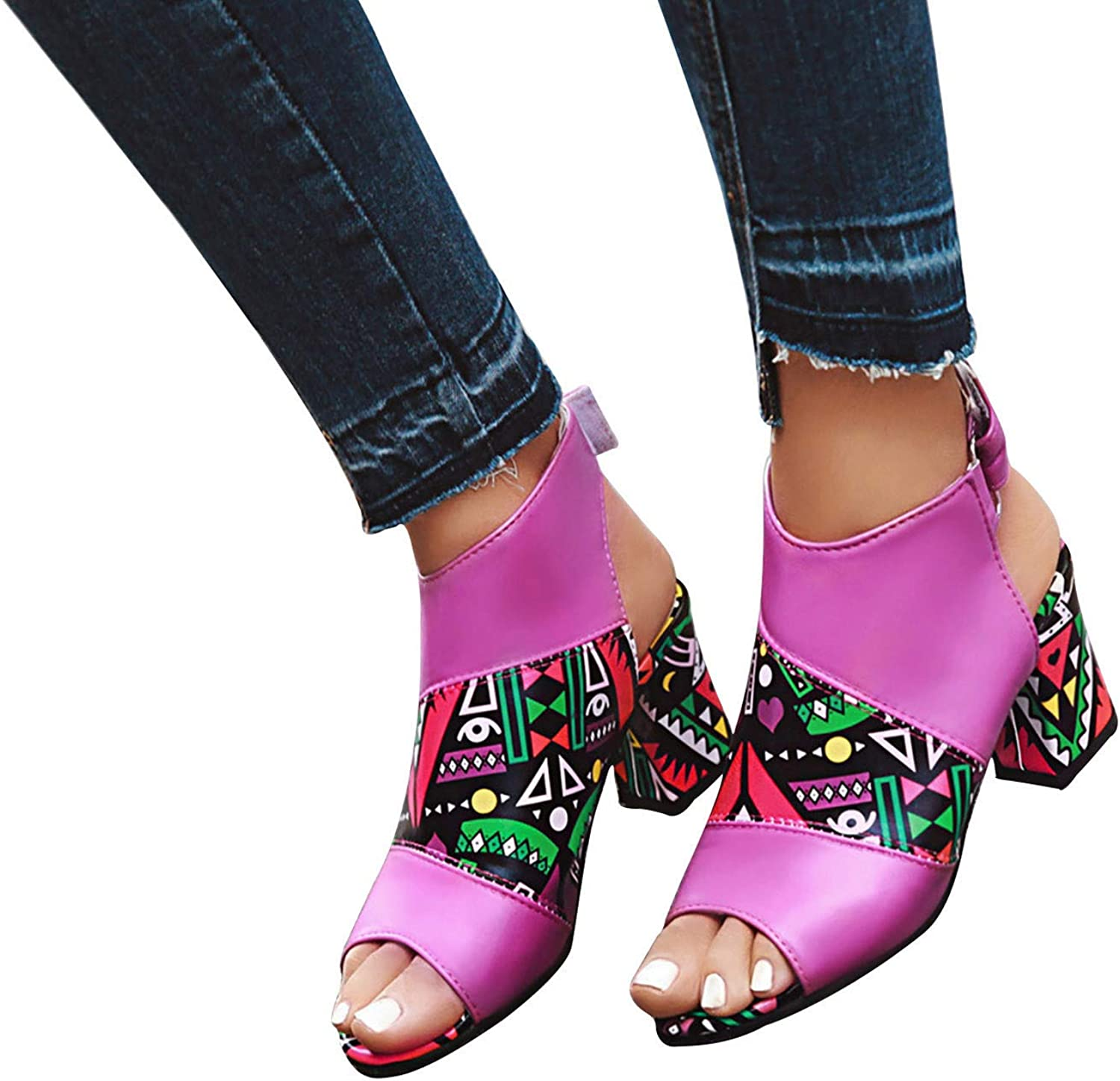 Hgndbloo Cutout Loop Sandals for Women Chunky Baltimore Mall Fixed price for sale Flip Po Heel Flops