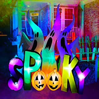 SEASONBLOW 8 ft Halloween Inflatable Ghosts with Spooky Pumpkin LED Lighted Airblown Blow Up Decoration for Lawn Yard Gard...