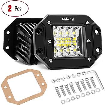 Nilight 2PCS 42W Flush Mount LED Light Pods Upgraded Spot Flood Combo Beam Driving Light LED Work Light Backup Light Reverse Light Grill Mount Light for Offroad 4x4 Truck SUV Jeep, 2 Years Warranty