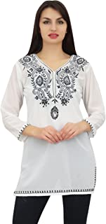 Phagun Women's Full Sleeve Embroidered Casual Georgette Tunic Top